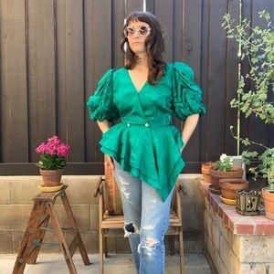 Vintage SAINT ROMEI Emerald Silk Wrap Blouse